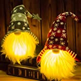 Darnassus 2Pack Handmade Christmas Gnome with LED Light Hanging Scandinavian Tomte Plush Doll Elf Dwarf for Christmas Tree Ornament,Home,Tabletop Decoration