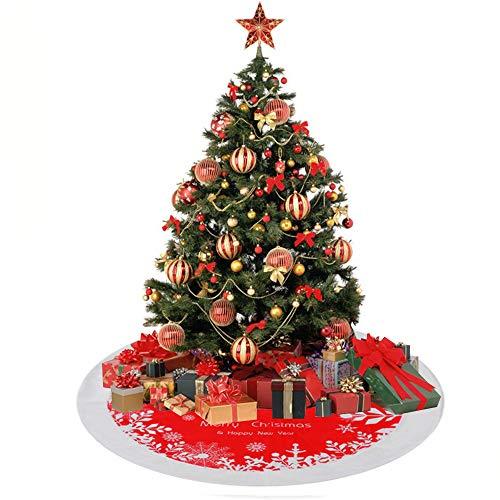 Anyingkai Base Albero Natale Peluches,Gonna Albero di Natale,Copri Base Albero Natale,Copri Base Albero,Finta Pelliccia Albero di Natale,Christmas Tree Skirt (Bianco Rosso, 122cm)