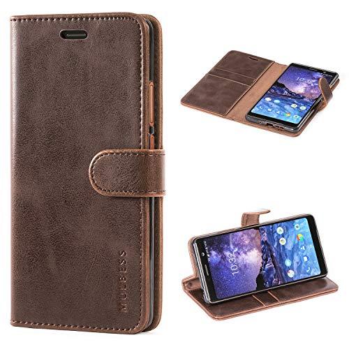 Mulbess Flip Tasche Handyhülle für Nokia 7 Plus Hülle Leder, Nokia 7 Plus Klapphülle, Nokia 7 Plus Handytasche, Schutzhülle für Nokia 7 Plus Handytasche, Coffee Braun