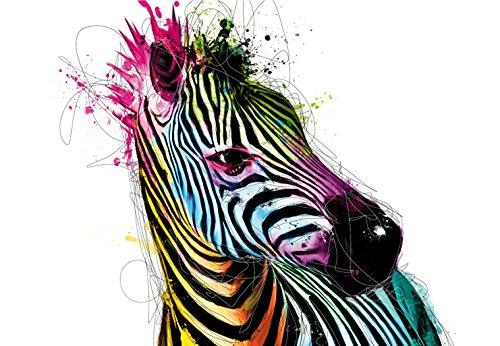 "1Wall Wandbild/Wandaufkleber, Design ""Colourful Zebra"" von Patrice Murciano, Mehrfarbig, 3,6x 2,53m"