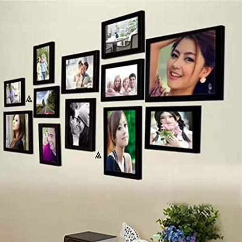 AG Crafts™ Wood Wall Photo Frame (Black, 12 Photos) (Black)