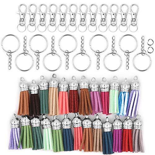 100 Stück Schlüsselanhänger Ringe mit Quaste Quaste Anhänger Großpackung für Schmuckherstellung Basteln Schlüsselanhänger, Handy-Gurte DIY Zubehör