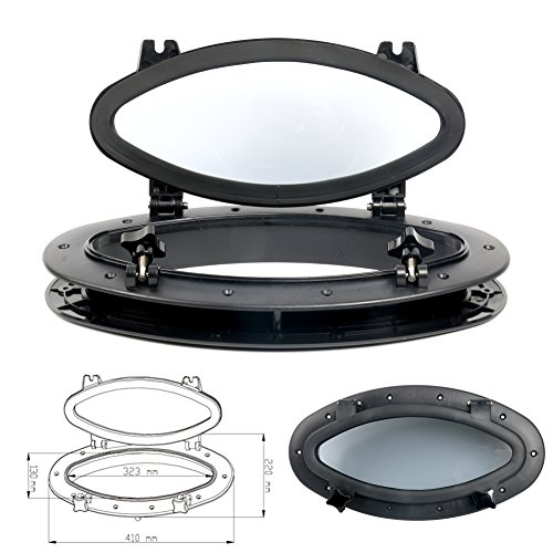 """Amarine Made Boat Yacht Elliptical Oval Opening Portlight Porthole 16"""" X 8-5/8"""" Replacement Window Port Hole - ABS, Tempered Glass, Color: White, Black (Black)"""
