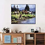 N / A Canvas Print Oil Painting Indians and River Artwork Picture Print Mural Living Room Wall Art Decoration Frameless 28X36cm