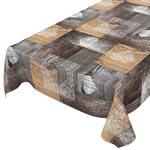 ANRO Mantel de hule lavable, de madera, marrón, gris, 100 x 140 cm