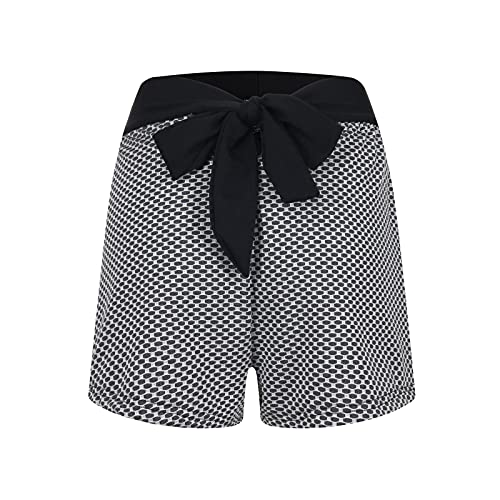 Pantalones cortos de yoga para mujer, cintura alta, con cinturón de mariposa, anticelulitis, color negro, gris, tallas S-XXL gris XXL