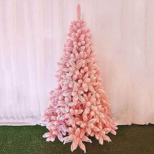 ZYDSN Árbol de Navidad de lujo rosa flocado árbol de Navidad cifrado muestra decoración de ventana adornos (color rosa; tamaño: 1,2 m)