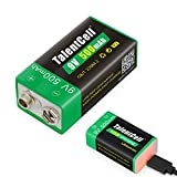 TalentCell 9V Lithium ion Battery, High Capacity 500mAh Rechargeable Li-ion Polymer Battery with Micro USB Charging Port, 1-Pack