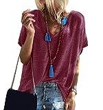 Camiseta Cuello V Mujer Oversize Larga Camisetas Manga Corta Escote V Mujeres Basicas Anchas Tops Verano Damas Casual Remeras Largas Chica Playeras Camisas Señora Blusas Amplias Tunica Túnico Rojo 5XL