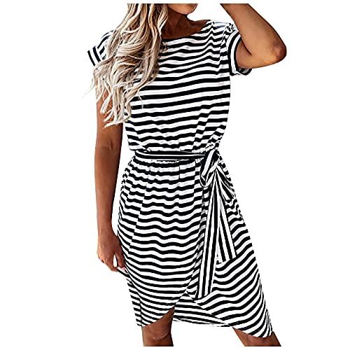 Pangki - Vestido de verano con rayas horizontales para mujer con cuello redondo irregular de manga corta Negro XXL