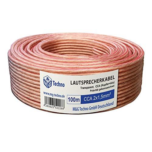 100m Cable de altavoz 2x1,5mm² CCA rund trasparente marcas de longitud, modelo 4081