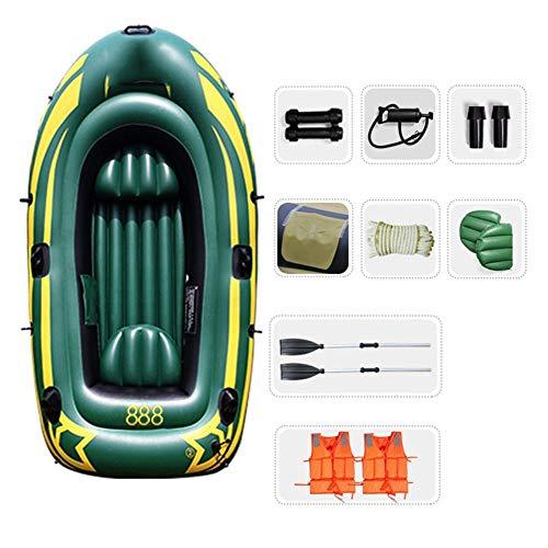 TXOZ Kayak Flotador de Agua Bomba de Aire Material PVC Canoa Inflable de Pesca 3 Persona ambientado con remos (Verde del ejército)