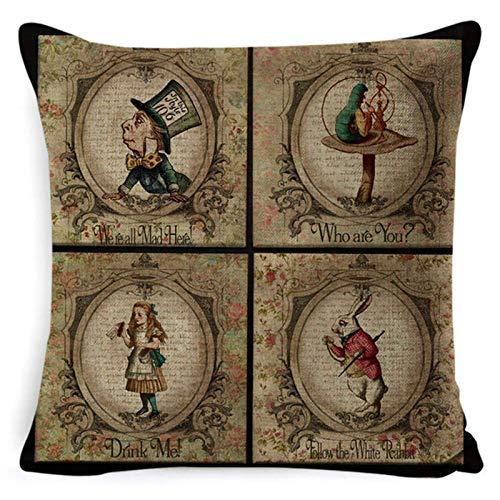 Funda de cojín vintage Ilustración Rabbit Praiser en periódico Alicia en el país de las maravillas Funda de almohada decorativa para el hogar retro