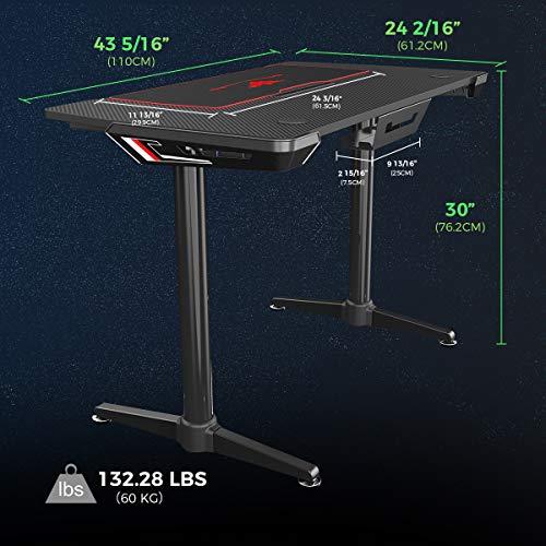 EUREKA ERGONOMIC Gaming Tisch I1 Gaming Schreibtisch mit Kabelmanagement System PC Gamer Tisch Computertisch Desk 112 * 61 cm Schwarz 3