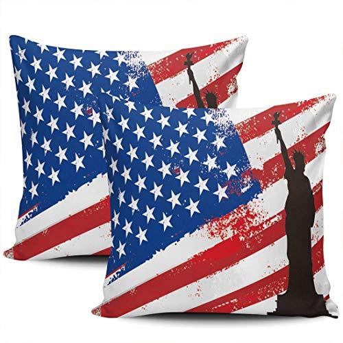 Home Decoration Throw Kissenbezüge Abdeckungen American Flag und Liberty Kissenbezüge Square Two Sides Print 45 * 45cm 2er-Set