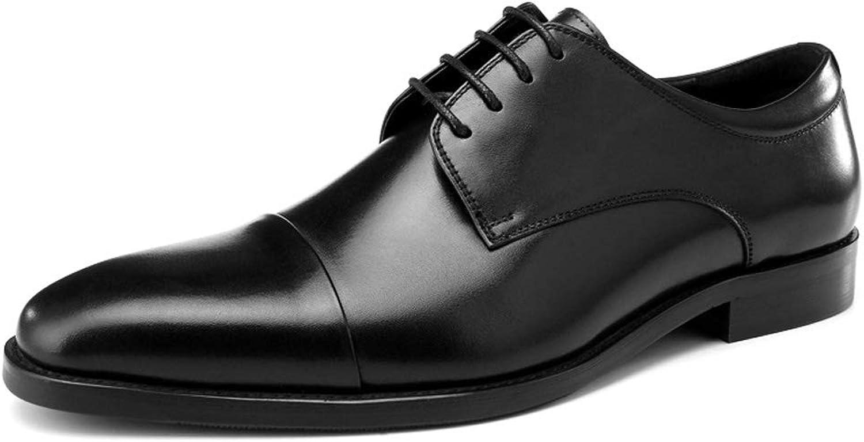 StickSeek Italian Genuine Leather Men's Oxfords Classic Pointed Toe Derby Man Cap Toe Formal Dress shoes