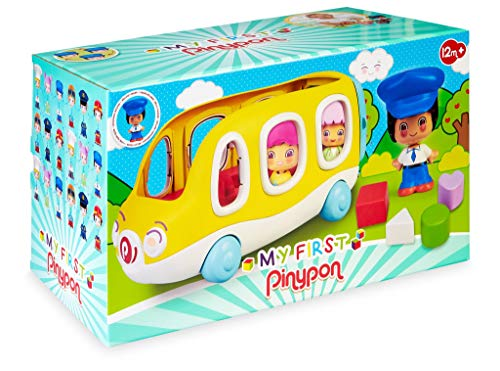 Pinypon - My First, Happy Bus, Mi primer autobús escolar y figura de conductor, con espacio para 3 figuras, ruedas y panel con huecos para encajar formas geométricas de colores, FAMOSA (700016304)