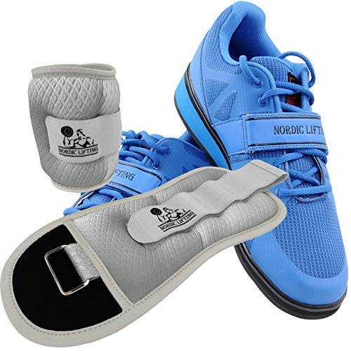 Nordic Lifting Powerlifting Shoes MEGIN (Blue, 9 US) and Ankle/Wrist Weights (1 Pair, Two 5 lbs) Sleek Grey