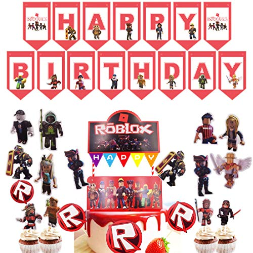 Roblox tema festtillbehör Roblox party tjänst glad Bithday banderoll spel kaka cupcake toppers tårta dekoration spelfest tillbehör möhippor dekorationer för spel fans