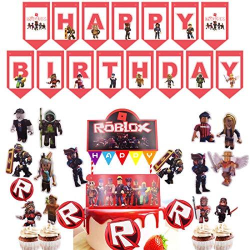 Roblox - Decorazioni per feste a tema Roblox per feste con scritta 'Happy Bithday', decorazione per torte e cupcake, per feste di addio al nubilato, decorazioni per gli appassionati di giochi