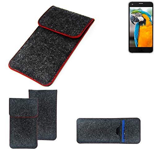 K-S-Trade® Handy Schutz Hülle Für Vestel V3 5040 Schutzhülle Handyhülle Filztasche Pouch Tasche Case Sleeve Filzhülle Dunkelgrau Roter Rand