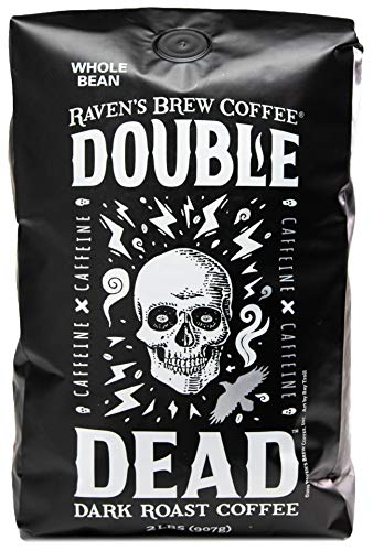Raven's Brew Coffee Whole Bean Double Dead – Dark Roast – Naturally High Caffeine – 2lb Bag