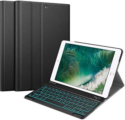 Fintie Tastatur Hülle für iPad 9.7 Zoll 2018 2017 / iPad Air 2 / iPad Air - Ultradünn Schutzhülle mit magnetisch abnehmbar QWERTZ Bluetooth Tastatur mit Hintergrundbeleuchtung in 7 Farbe, Schwarz