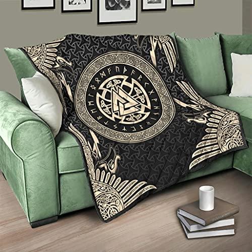 Flowerhome Colcha vikinga runas runas de cuervo vikingo para cama, manta para sofá, cama, color blanco, 100 x 150 cm