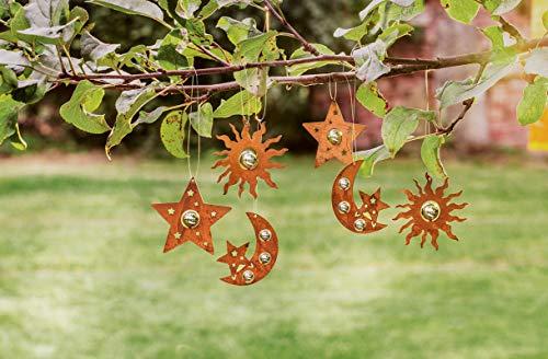 6 Deko-Hänger Sonne, Mond und Sterne aus Metall in Rost Optik, Türdeko, Wandhänger, Fensterdekoration
