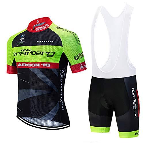 Bike Trikots Radsport Herren, Atmungsaktiv Radsport-Bekleidung mit Reflektierendem Streifen mit Radsportträgerhosen für MTB, Sommer