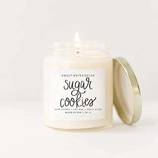 Sweet Water Decor Sugar Cookies Natural Soy Wax Candle Glass Jar Scent Buttercream Frosting Vanilla Candles Winter Cozy Holiday Candles Christmas Cookies Christmas Candles Christmas Stocking Stuffers