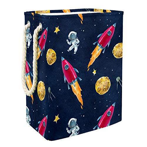 EZIOLY Cesta de lavandería Space Planets Astronaut Azul plegable con asas Soportes desmontables Bien Sostenible Impermeable para Ropa Juguetes Organización en Lavandería Dormitorio