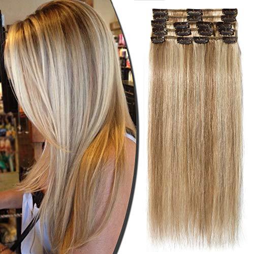 Extension Capelli Veri Remy Clip Mèches 8 Fasce Human Hair Extensions Clip Lisci Lunga 40cm Pesa 65grammi, 12/613 Marrone Chiaro/Biondo
