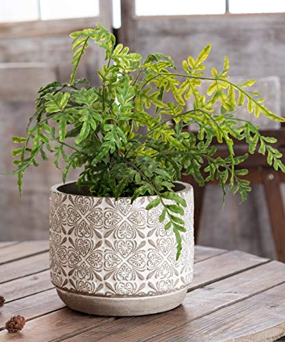 7 Inch Plant Pot - Concrete Flower Pot Indoor Outdoor - Large Cement Planter Pots with Drainage -Modern Decorative Plant Pots for Houseplants, Succulents - Natural Gray with White Floral Embossed