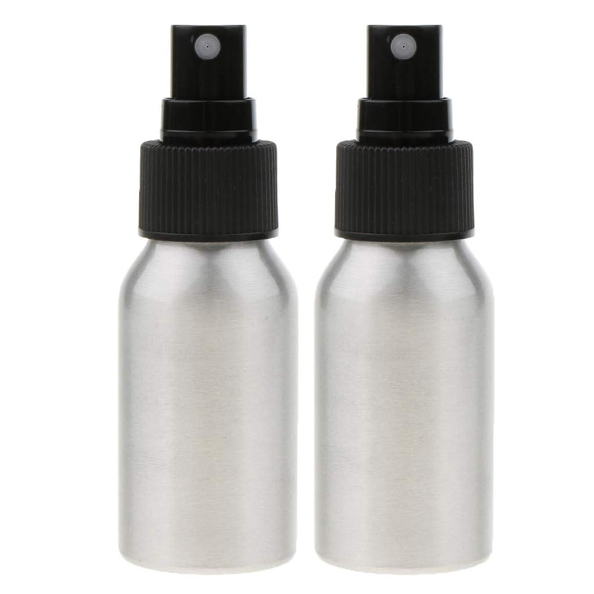 安心滑りやすい実現可能KESOTO 2個 メイクアップボトル アルミスプレーボトル アルミ 空ボトル 詰め替え可能 香水ボトル 2色選べ - ブラックキャップ