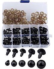 B•You Ojos de Seguridad de Plástico,Ojos Amigurumi 142 Piezas 6-12mm Ojos Sólidos Negros con Arandelas en Caja de Almacenaje para Oso de Peluche Oso Muñeca Marioneta y Manualidades