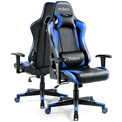 Gaming Stuhl YOLEO Bürostuhl Gamer Ergonomischer Stuhl Einstellbare Armlehne Einteiliger Stahlrahmen Einstellbarer Neigungswinkel Gaming Chair Blau