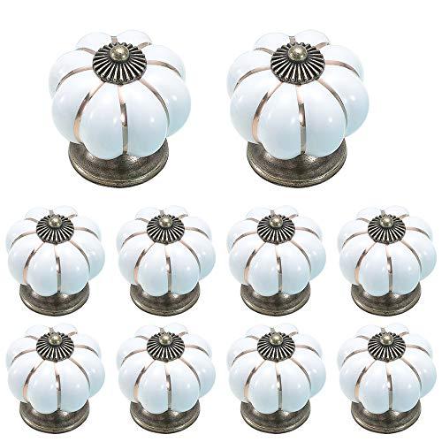 ZUYOKO 12 Piezas Pomos de Cerámica Estilo Calabaza, Pomos y Tiradores Vintage para Cajones Armario Cocina, 40mm, Blanco