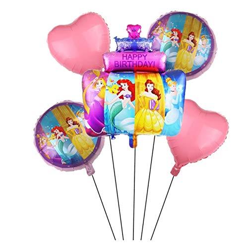 JJSNN Globos para tartas de cumpleaños, 5 unidades, diseño de princesa, Cenicienta, Ariel Belle Rapunzel, decoración para fiestas de cumpleaños (color: 5 unidades)