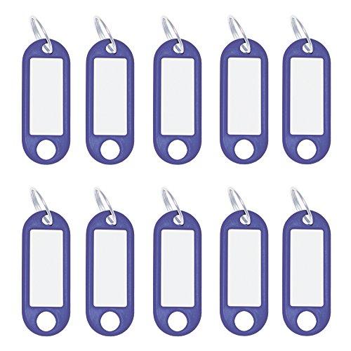 Wedo 262101803 Schlüsselanhänger Kunststoff (mit Ring, auswechselbare Etiketten) 10 Stück, blau