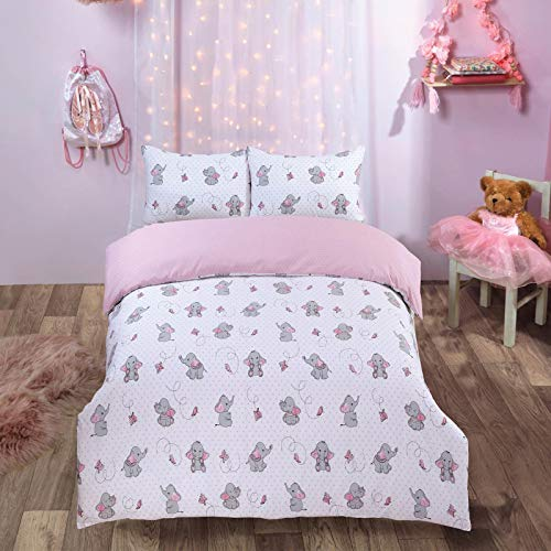 Dreamscene Ellie Elephant Duvet Cover with Pillowcase Reversible Set
