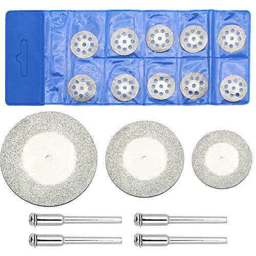Diamant-Trennscheiben Set 17 Stück Inklusive 13 Stück Trennscheiben und 4 Stück Aufspanndornen Dremel-Dreh-Werkzeuge zum Trennen Schneiden von Stein Glas Metall Edelstein