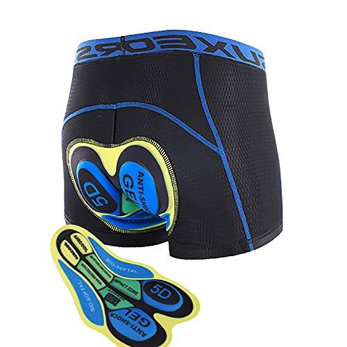 Greetuny Fahrradunterhose Herren Gepolstert, Radlerunterhose mit Sitzpolster 5D Gel Stoßfeste, MTB Hose Kurz Atmungsaktive Schnelltrockende,Blau,XL