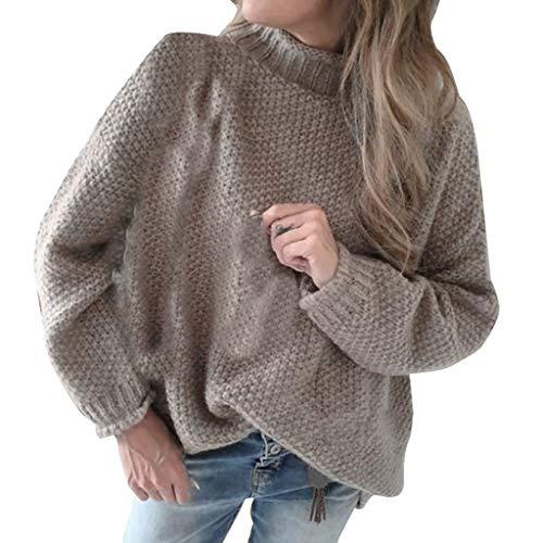 Dasongff gebreide trui voor dames, sweatshirt, hoge kraag, casual, vrijetijdspullover, gebreide trui, elegante bovenstukken, effen casual sweater, trui, oversize