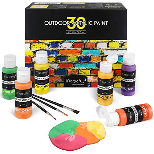 Magicfly 30 Colors Outdoor Acrylic Paint Set 60ml Artist Quality Non-Toxic Craft Paints with 3 Brushes, for Multi-Surface Paint on Canvas, Paper, Wood, Stone, Ceramic and Model