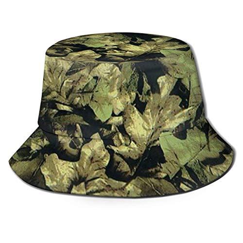 Sombrero de Pescador con Parte Superior Plana Transpirable Unisex Tropical Camo LeafBucket Sombrero de Pescador de Verano