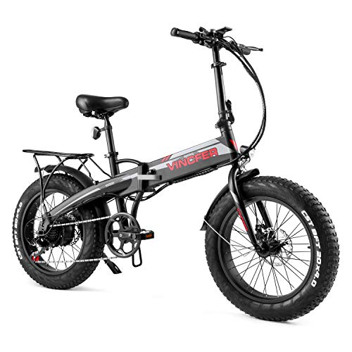 """Vincfer Electric Bike, 500W 20"""" 4.0 Fat Tire Electric Bikes for Adults, Shimano 7-Speed EBike with 48V 10.4A Removable Lithium Battery, Folding Electric Bike, Electric Mountain Bike (Black)"""