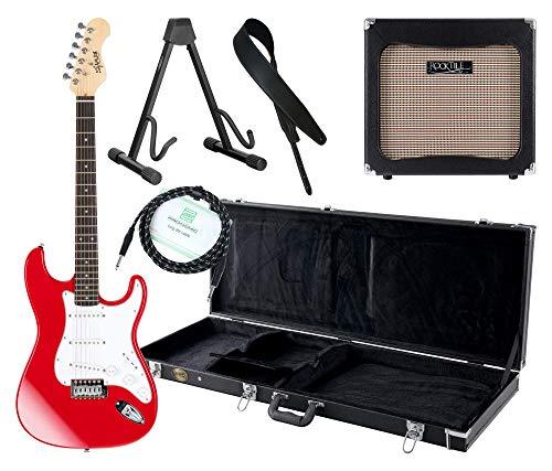 Shaman Element Series STX-100R Komplett Set - E-Gitarre - Modeling-Verstärker - Koffer - Ledergurt - Ständer - Kabel - Rot