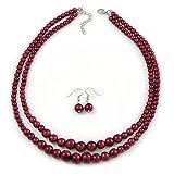 Set de collar de perlas de cristal de dos hebras y pendientes de gota, color rojo graduado...