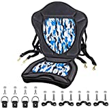 Extra Thick Padded Kayak Seat Thickened Sit-On-Top Canoe Seat Cushioned - Deluxe Fishing Boat Seat with 4 PCs Fixed D-Ring & 4 PCs Tie Down Pad Eyes and Screws